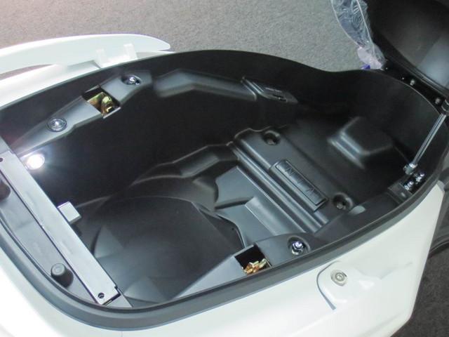 フルフェイスヘルメット2個を収納しても余裕のある容量、LEDランプも標準装備