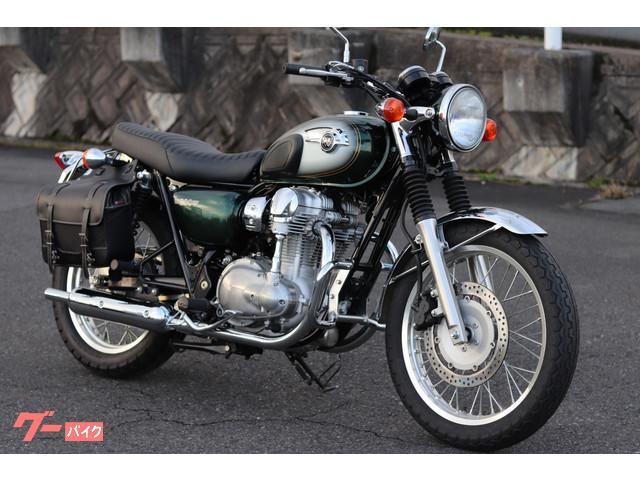 カワサキ W800 グリーン マルチリフレクター化 サドルバッグ付の画像(岡山県