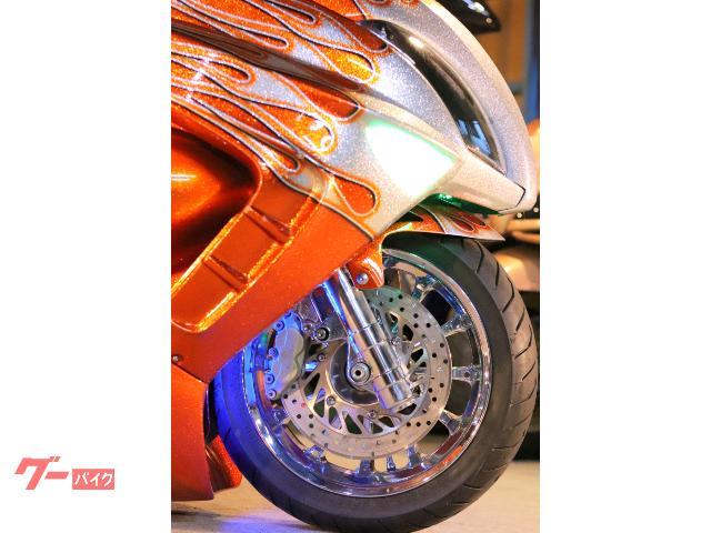 ヤマハ マジェスティDC製エアサスロンホイFIRE炎カスタム塗装USAスピーカー七色LED社外ホイール強力ストロボの画像(埼玉県