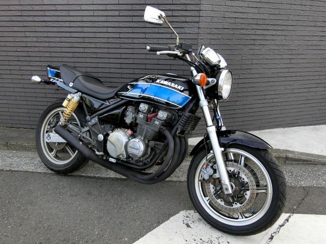 カワサキ ZEPHYR400 ブラックブルーFXカラー UPハンドル 集合管の画像(神奈川県