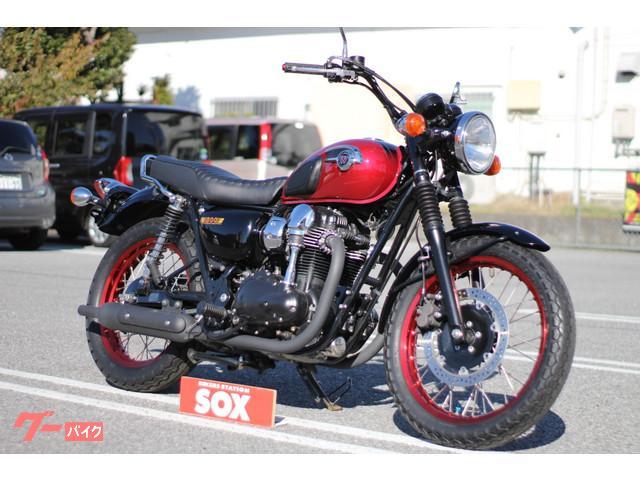 カワサキ W800 スペシャルエディション 前後リム赤アルマイト塗装の画像(栃木県